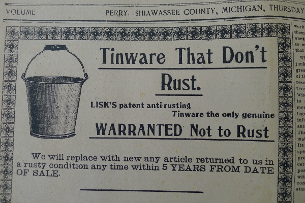 "Ad for ""Tinware that don't rust"""