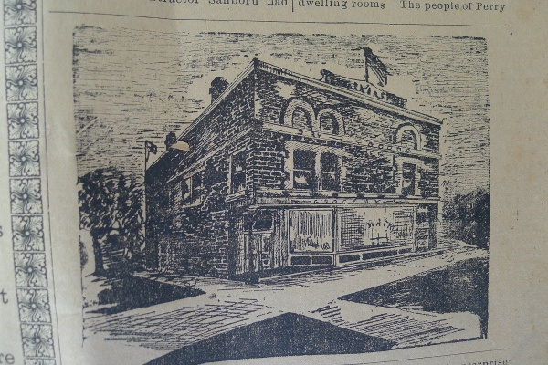 Etching of a shop